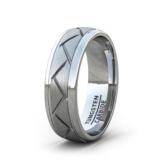Tungston Carbide Wedding Rings.Mens Wedding Band Fashion Ring Tungsten Ring Matte Brushed Zigzag Groove Wedding Bands 8mm Comfort Fit