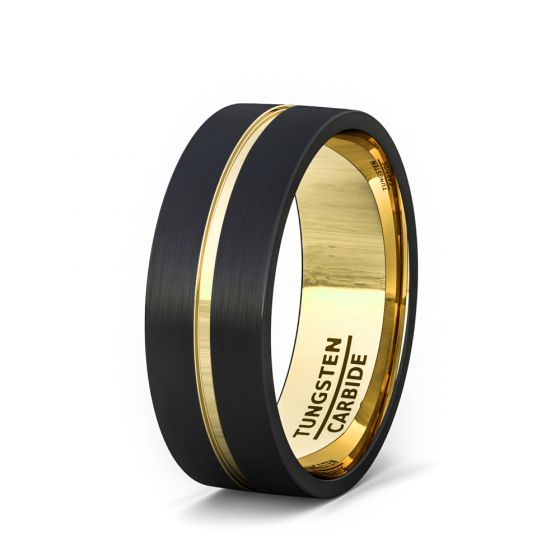Mens Wedding Band Fashion Ring Black Tungsten Ring 8mm Gold Inside And Groove Flat Edge Comfort