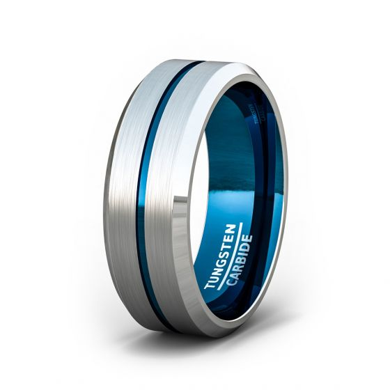 8mm Tungsten Ring Beveled Edge Blue Center Groove Comfort Fit