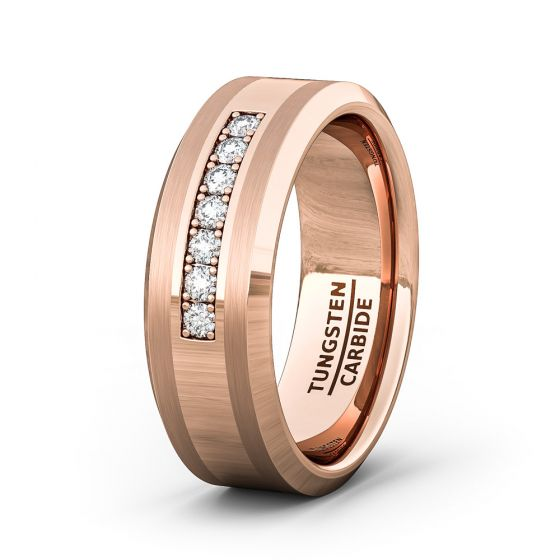 Rose Gold Mens Wedding Band.8mm Rose Gold Tungsten Carbide Ring With 7 Cubic Zircon Mens Wedding Band Fashion Ring Comfort Fit
