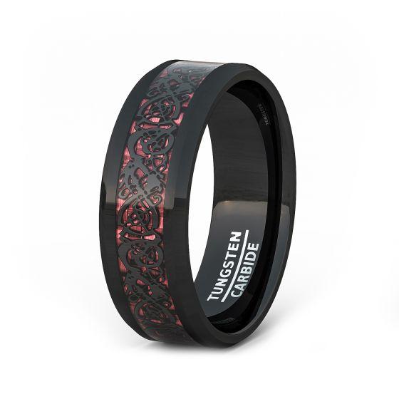 Beveled Edge Black Tungsten Ring 8mm