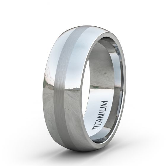 Mens Wedding Bands Titanium.8mm Titanium Ring Classic Mens Wedding Band Polished With Brushed Inlay Dome Comfort Fit
