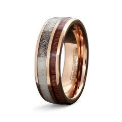 8mm Rose Gold Tungsten Ring with Antler Deer & Koa Wood Inlay