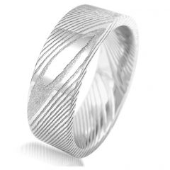 8mm Damascus Steel Flat Band Wood Grain Mens Wedding Bands Tungsten Ring Comfort Fit