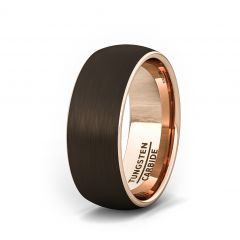 8mm Brown Rose Gold Polished Tungsten Ring Comfort Fit