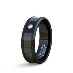 Mens Wedding Band/Fashion Ring Black Tungten Ring 8mm Carbon Fiber Cubic Zircon Comfort Fit