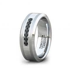 8mm Tungsten Carbide Ring Black Cubic Zircon