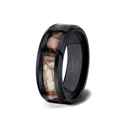 Black Tungsten Ring Camoflauge Beveled Edge Comfort Fit