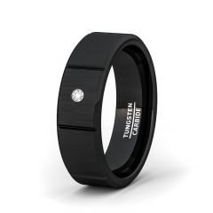 8mm 8mm BlackTungsten Ring Sectioned Cubic Zircon Beveled Edge Comfort Fit