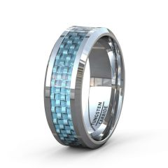 Tungsten Ring Polished 8mm with Blue Carbon Fiber Inlay Beveled Edge Comfort Fit