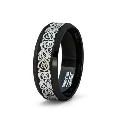 8mm Black Tungsten Ring Celtic Dragon Pattern Beveled Edge 8mm Comfort Fit