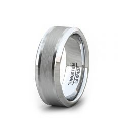 8mm Mens Wedding Band/Fashion Ring Classic Brushed Inlay Beveled Edge Comfort Fit