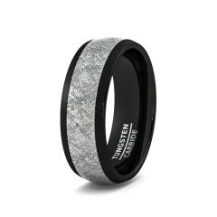 Mens Wedding Band/Fashion Ring 8mm Black Tungsten Ring with Imitation Meteorite Texture Dome Comfort Fit