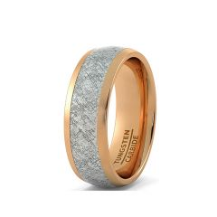 8mm Rose Gold Tungsten Ring with Imitation Meteorite Texture Dome Comfort Fit