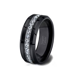 Mens Wedding Band/Fashion Ring Black Tungsten Ring Stacked with Cubic Zircon Comfort Fit