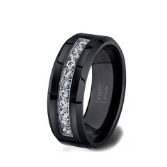 8mm Black Tungsten Carbide Ring 11 CZ Trillion Mens Wedding Comfort Fit