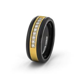 Rare Mens Wedding Band/Fashion Ring Black Tungsten Ring Gold Inlay with Cubic Zircon Comfort Fit