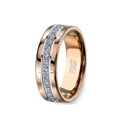 Rose Gold Tungsten Ring Fully Stacked with Cubic Zircon Comfort Fit