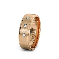 8mm Rose Gold Tungsten Ring Brushed 3 Cubic Zircon Step Edge Comfort Fit