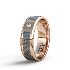 Rose Gold Tungstgen Ring 8mm Carbon Fiber Cubic Zircon Comfort Fit