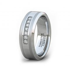 Mens Wedding Band/Fashion Ring 8mm Polished Tungsten Ring with Cubic Zircon Stones Beveled Edge Comfort Fit