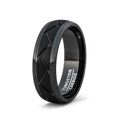 Mens Wedding Band/Fashion Ring 8mm BlackTungsten Ring Matte Brushed Zigzag Groove Wedding Bands 8mm Comfort Fit