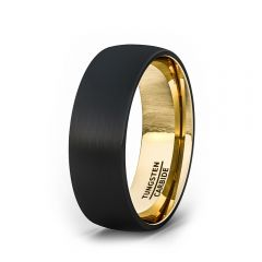 Tungsten Ring Two Tone Black 18k Gold Plated Tungsten Carbide Brushed  Dome 8mm Comfort Fit