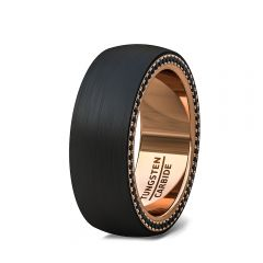 Black Tungsten Ring Flat Edge Fully Stacked Black CZ Rose Gold Comfort Fit