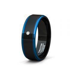 Mens Wedding Band/Fashion Ring Two Tone Black Tungsten Ring 8mm Blue Sides Step Edge Cubic Zircon Comfort Fit