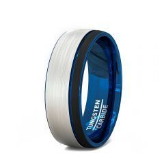 Black Tungsten Blue Groove Mens Ring Brushed Dome 8mm Comfort Fit