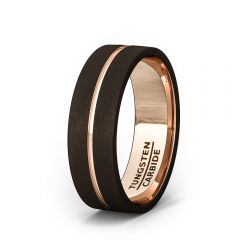 Mens Wedding Band/Fashion Ring Brown Tungsten Ring Inside Rose Gold Groove Flat Edge Comfort Fit