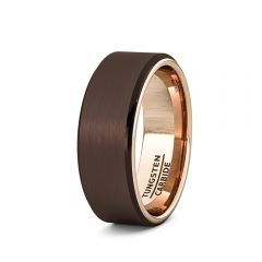 Mens Wedding Band/Fashion Ring Rare Brown Tungsten Ring Inside Rose Gold Beveled Edge Comfort Fit