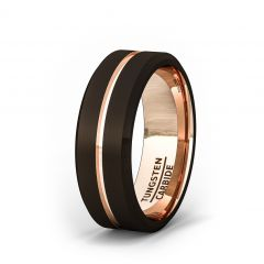 Mens Wedding Band/Fashion Ring Rare Brown Tungsten Ring Inside Rose Gold Groove Beveled Edge Comfort Fit