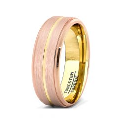 Mens Wedding Band/Fashion Ring 8mm Rose Gold Brushed Tungsten Ring Thin Gold Groove Step Edge Comfort Fit