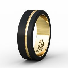Mens Wedding Band/Fashion Ring 8mm Black Brushed Tungsten Ring Thin Side Gold Groove Flat Edge Comfort Fit