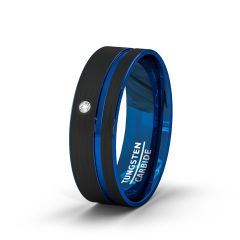 Mens Wedding Band/Fashion Ring 8mm Black Brushed Tungsten Ring Thin Side Blue Groove Cubic Zircon Flat Edge Comfort Fit