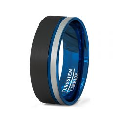 Mens Wedding Band/Fashion Ring 8mm Black White Brushed Tungsten Ring Thin Side Blue Groove Flat Edge Comfort Fit