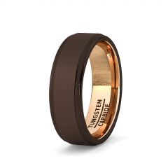 Mens Wedding Band/Fashion Ring Rare Brown Tungsten Ring Inside Rose Gold Step Edge Comfort Fit