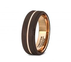 Mens Wedding Band/Fashion Ring 8mm Rare Brown Brushed Tungsten Ring Thin Rose Gold Groove Step Edge Comfort Fit
