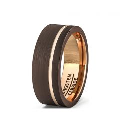 Mens Wedding Band/Fashion Ring 8mm Brown Brushed Tungsten Ring Thin Side Rose Gold Groove Flat Edge Comfort Fit