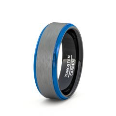 Mens Wedding Band/Fashion Ring Tungsten Ring White Brushed Surface Black Inside Blue Step Edge Comfort Fit
