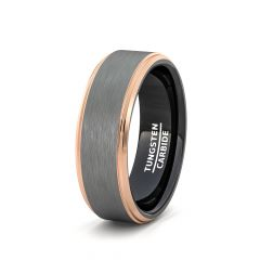 Mens Wedding Band/Fashion Ring Tungsten Ring White Brushed Surface Black Inside Rose Gold Step Edge Comfort Fit