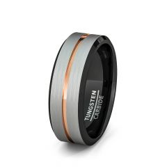 Mens Wedding Band/Fashion Ring White Brushed with Rose Gold Groove and Black Inside Comfort Fit