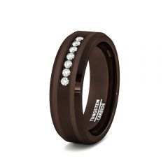 8mm Brown Tungsten Carbide Ring with Cubic Zircon Mens Wedding Band/Fashion Ring Comfort Fit