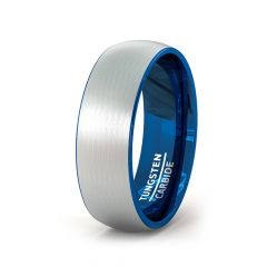 Mens Wedding Band/Fashion Ring Tungsten Ring 8mm Outside Brushed Dome Inside Blue Comfort Fit
