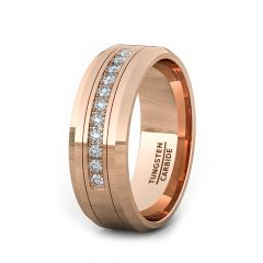 8mm Rose Gold Tungsten Carbide Ring with 11 Cubic Zircon Mens Wedding Band/Fashion Ring Comfort Fit