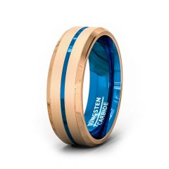 8mm Rose Gold Brushed Tungsten Ring Center Blue Groove Beveled Edge Comfort Fit