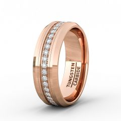 Rose Gold 8mm Tungsten Ring Polished Fully Stacked Cubic Zircon Beveled Edge Comfort Fit