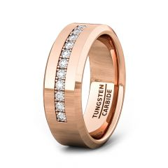 8mm Rose Gold Tungsten Carbide Ring with 9 Cubic Zircon Mens Wedding Band/Fashion Ring Comfort Fit
