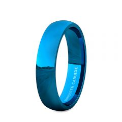 Mens Wedding Band/Fashion Ring Tungsten Ring 6mm Blue Polished Dome Comfort Fit